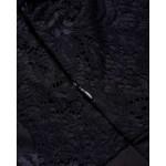 Фото Боди чёрное с гипюровыми рукавами 171-02