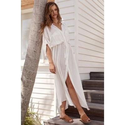 Пляжная длинная рубашка белая коттон 146-54