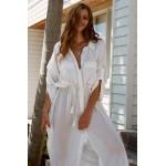 Фото Пляжная длинная рубашка белая коттон 146-54