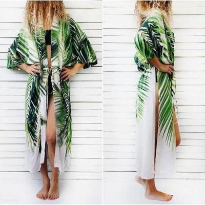 Пляжный халат коттон тропический принт 146-59