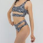 Фото Купальник бикини белый леопард высокая талия 173-09