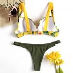 Фото Купальник раздельный цветочный жёлто-зелёный 181-04