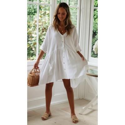 Пляжное короткое платье белое оversize 146-68-1