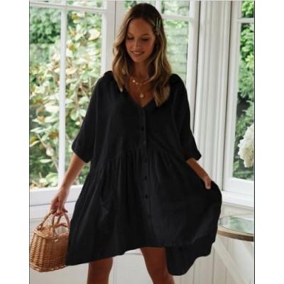 Пляжное короткое платье чёрное оversize 146-68-2