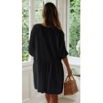 Фото Пляжное короткое платье чёрное оversize 146-68-2