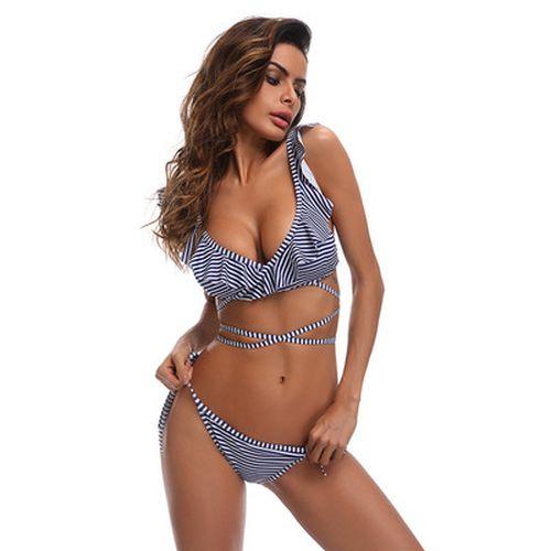 Фото Купальник  бикини полосатый синий 129-16-1