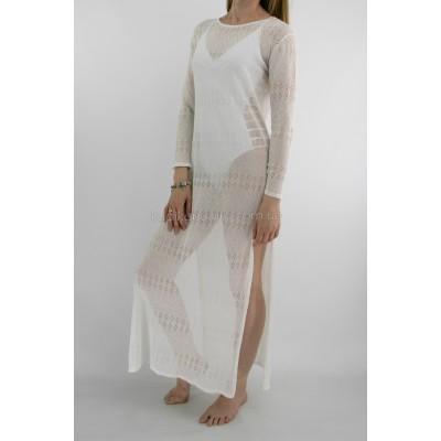 Пляжное платье белое длинный рукав 146-26-1