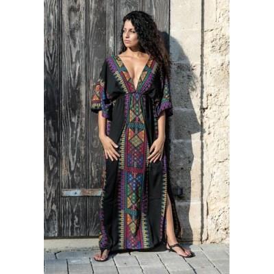 Чёрное длинное платье с вышивкой коттон 405-05