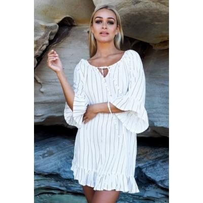 Короткое белое в тонкую полоску платье коттон 405-16