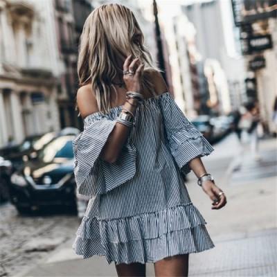Короткое полосатое чёрно-белое платье коттон 405-18