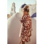 Фото Короткий халат оранжево-белый коттон 405-33