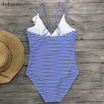 Фото Купальник слитный полосатый сине-белый с воланом  136-27-3