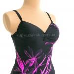 Фото Купальник женский пляжный  слитный чёрно-розовый  700-13