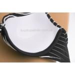 Фото Купальник раздельный чёрный в белую полосочку фактурный 700-30
