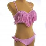 Фото Купальник розовый c люрексом и бахромой на лифе 700-03
