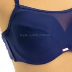 Фото Купальник женский раздельный синий с сеточкой на лифе 701-06