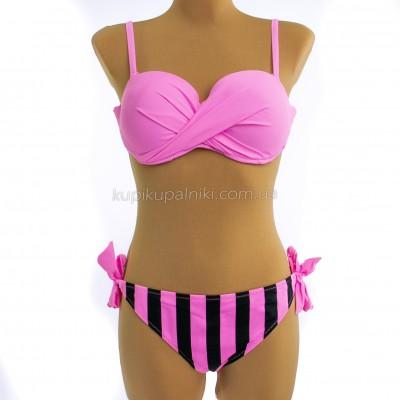 Купальник розовый на косточках полосатые плавки 700-07