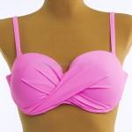 Фото Купальник розовый на косточках полосатые плавки 700-07