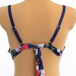 Фото Купальник раздельный синий на косточках  лиф с цветами 701-04