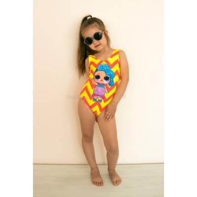 Купальник детский слитный оранжево-желтый LOL 602-10