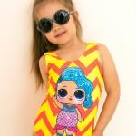 Фото Купальник детский слитный оранжево-желтый LOL 602-10