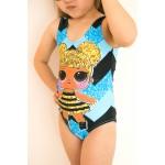 Фото Купальник детский слитный черно-голубой LOL  602-11