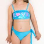 Фото Купальник детский раздельный голубой с пайетками 602-14