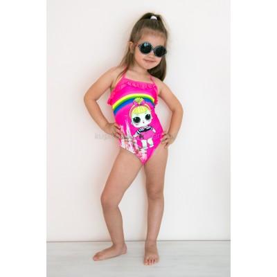 Купальник слитный детский розовый тонкие бретели-завязки LOL 602-19