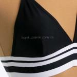 Фото Купальник раздельный черный с черно-белой резинкой 603-02