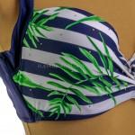 Фото Купальник раздельный синие плавки полосатый лиф тропический принт 602-09