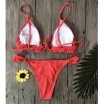 Фото Купальник раздельный бикини красный, плавки бразилиана красный 130-812