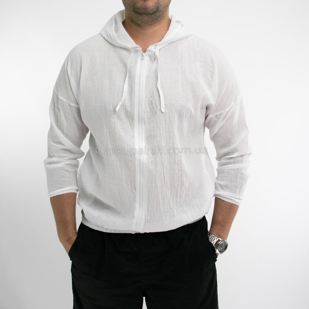 Фото Бомбер белый пляжный на молнии с капюшоном 409-01