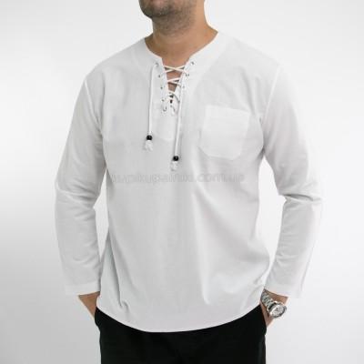Рубашка пляжная мужская белая с шнуровкой на груди 411-01