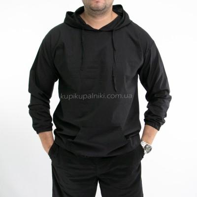 Рубашка мужская черная с капюшоном 411-03