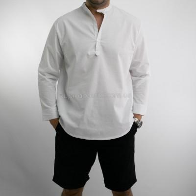 Рубашка мужская длинный рукав белые пуговицы воротник стойка  411-04