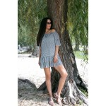 Фото Короткое полосатое чёрно-белое платье коттон 405-18