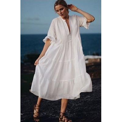 Платье пляжное белое на длинный рукав 405-37