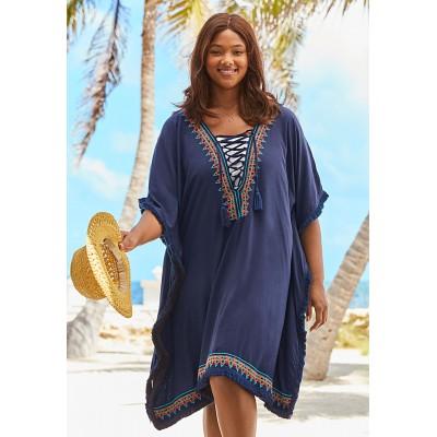 Туника пляжная синяя короткая oversize с вышивкой 405-38