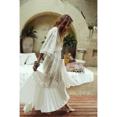 Платье пляжное белое на кулиске и прозрачными рукавами 405-43