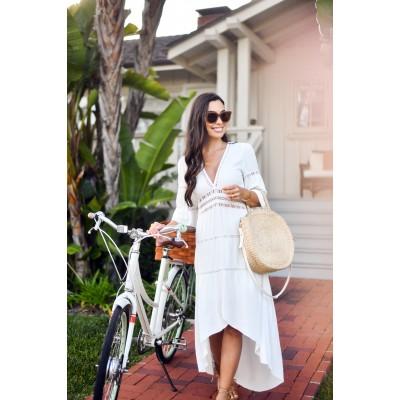 Пляжное платье  с вырезом белое коттон 405-46