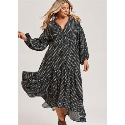 Платье черное летнее легкое в белый горошек oversize 405-47