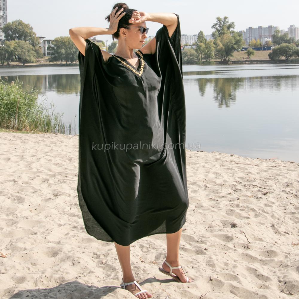 Фото Туника черная oversize с золотым декором-вышивкой 405-41