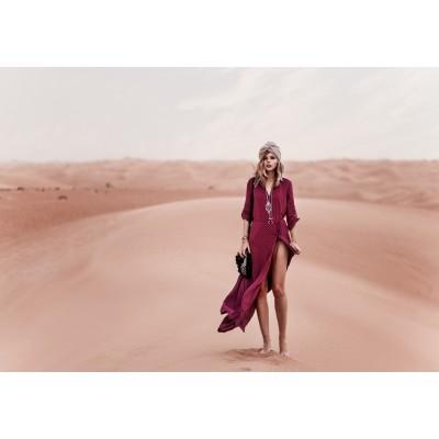 Платье-рубашка длинная на пуговицах бардо на длинный рукав 405-49