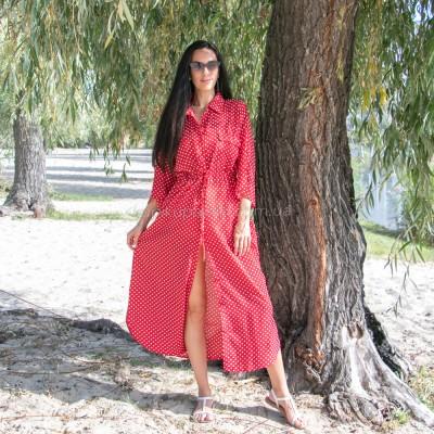 Платье красное в белый горох на пуговицах 405-39