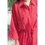 Фото Платье красное в белый горох на пуговицах 405-39