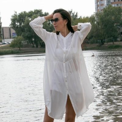 Платье-рубашка белое на длинный рукав коттон 405-40