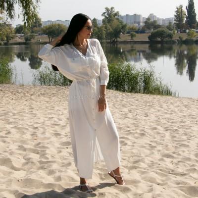 Рубашка-платье на длинный рукав с тонким пояском 405-44