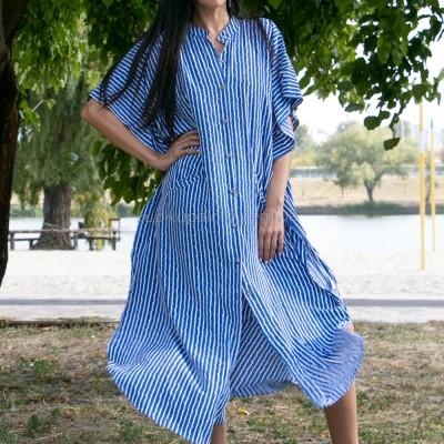 Туника-платье синее в белую полоску oversize 405-48