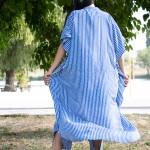 Фото Туника-платье синее в белую полоску oversize 405-48