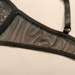 Фото Женское белье комплект черный лиф плавки подвязки со стразами 328-09